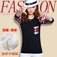 韩国热卖秋冬女装加厚不倒绒t恤 修身格子拼接女式长袖T恤打底衫