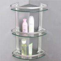 【低价】 太空铝 三层玻璃置物架 浴室置物架 0.8cm超厚钢化玻璃