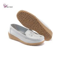 白色坡跟真皮女鞋 护士鞋 牛皮妈妈鞋休闲鞋 柔软牛筋底女式单鞋