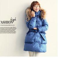 14韩国代购女装批发代理时尚貉子大毛领收腰带中长加厚羽绒服外套