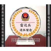 惠州部队水晶纪念品定做 士兵退役水晶纪念品 退伍留念礼品定做 水晶盾牌纪念品