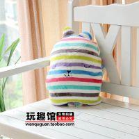 梨花craet彩条纹兔 空调被 抱枕毯子 多功能暖手抱枕毯 空调毯