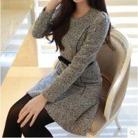 2014秋冬新款韩版修身显瘦圆领打底毛呢A字连衣裙 送腰带