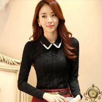 冬装新款韩版翻领加绒加厚蕾丝衫女装打底衫