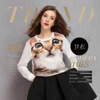 实拍693#欧洲站秋冬新款时尚大牌3D猫烫钻百搭卫衣T恤打底衫