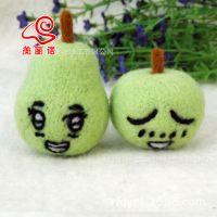 高档纽西兰羊毛 苹果梨材料包 DIY手工创意水果手机挂件