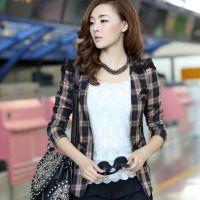 2014秋季新款修身韩版格子蕾丝拼接修身长袖西服领小西服外套