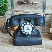 美式乡村复古做旧树脂工艺品电话机摄影道具家居装饰品模型摆件
