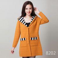 2014韩版女装秋冬新款 貂绒呢子大衣连帽外套风衣毛呢外套女批发