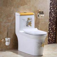 新款卫生间家用虹吸式陶瓷彩金连体座便器