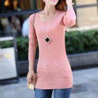 2013秋装新款 韩版修身中长款纯色不起球针织衫圆领套头打底衫