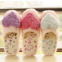 秋冬毛绒加厚保暖居家创意可爱爱心情侣室内地板拖鞋