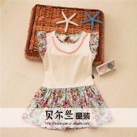 2014年夏款新品童装 儿童连衣裙 田园风女童碎花拼接纯棉连衣裙