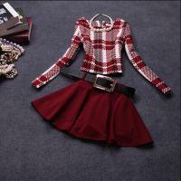 2014秋冬新款时尚欧美风格子修身长袖套装连衣裙
