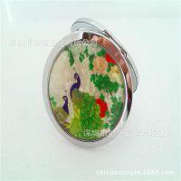 贝壳面板圆形化妆镜 民族风旅行纪念品 外贸精品折叠化妆镜子