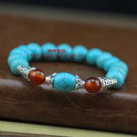 天然尼泊尔风绿松石串珠手饰红玛瑙佛珠手链 特价促销
