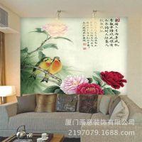简约客厅沙发背景墙艺术软包装饰墙纸壁纸丝绸墙布【南国相思画】