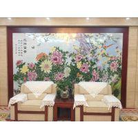 会议厅观赏壁画订做 大堂陶瓷山水壁画 手绘山水观赏壁画