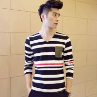 2014秋装新款男士时尚条纹打底衫韩版修身撞色长袖T恤男供应批发
