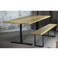 美式做旧老松木餐桌椅组合 餐厅咖啡厅桌椅 实木桌子长方形饭桌