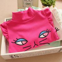 2014秋季新款韩版童装儿童高领衫女童小猫卡通纯棉T恤衫打底衫JH