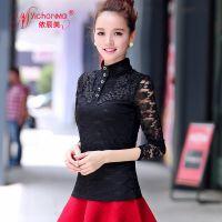 (实拍)秋装新款韩版蕾丝打底衫女立领修身蕾丝上衣长袖女潮