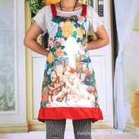 韩版印花围裙 厨房家居时尚花边公主围裙 全涤热升华印花围裙