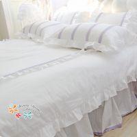 美丽梦想 新款纯净白色床品四件套 紫色蕾丝韩版公主床上用品套件