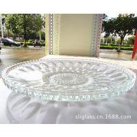 供应加厚圆形玻璃果盘  珠点透明果盘  糖果盅  适宜家具酒店用品