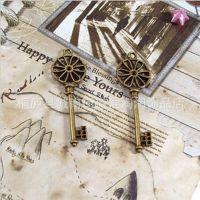 diy饰品配件批发 64*21MM合金花型钥匙 古铜色 10个 量大从优批发
