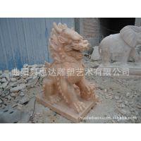 供应镇宅动物石雕麒麟 貔貅 石头麒麟摆件 室内外动物摆件 ql-23