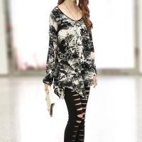 2014秋季新款特大码女装印花个性中长款长袖宽松T恤打底衫