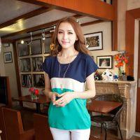 韩版夏装新款圆领蝙蝠短袖t恤女大码拼色宽松雪纺麻纱T恤X3638