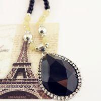 仿老银匠泰银几何形黑色水晶吊坠镶钻长款项链毛衣链 珍珠串珠