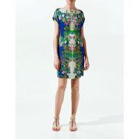 2014夏季新款欧美风连衣裙定位印花短裙植物花卉连衣裙女E82-1055