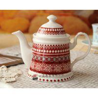 火爆热销 精致陶瓷茶壶 陶瓷花茶壶 礼品瓷器茶具 圣诞茶具