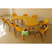 厂家直销 月亮弯桌 月牙桌 塑料桌椅 儿童学习桌椅 幼儿园桌 批发
