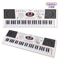 贝恩施儿童学练电子琴多功能音乐教学琴 带麦克风可充电钢琴玩具
