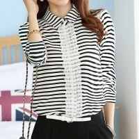 秋装新款女装韩版条纹打底衫修身长袖蕾丝开衫外套T恤
