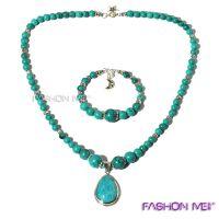 风靡牌S925纯银珠宝 绿松石项链手链套装 专柜正品 保证纯银