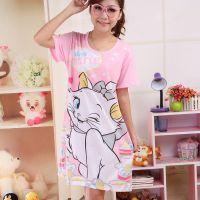女装一件代发 夏季卡通可爱电眼小猫印花女短袖睡衣裙睡裙家居服