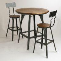 餐桌定制美式乡村铁艺实木复古餐桌实木桌奶茶店桌餐桌椅组合批发