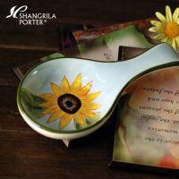 手绘陶瓷向日葵釉下彩勺子 釉下彩工艺陶瓷厨房用品 复古菊花勺垫