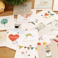 厂家直销卡通明信片 韩版创意带信封 祝福贺卡 生活小卡片批发