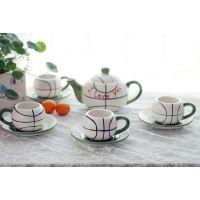 厂家供应茶具套装 带杯垫咖啡餐具 下午点心陶瓷茶具套装批发