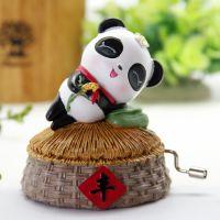 一优 可爱小熊猫手摇音乐盒创意摇杆式八音盒天空之城音乐铃礼物