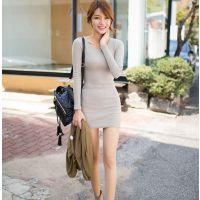 秋冬新款 韩版打底裙修身显瘦长袖包臀连衣裙女