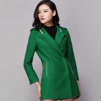 新款秋冬新品杉杉来了赵丽颖薛杉杉同款绿色大衣毛呢外套2014