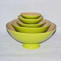 巨匠厂家定制天然欧式环保彩色竹制水果盘套装家居装饰用品