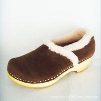 厂家直销2015新款森林系棕色双面绒女式棉鞋保暖妈妈润乐木底鞋